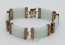Jade Chinoise Antique Grand 8 Gilt D'or Sur Bracelet En Argent Pèse 35g