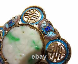 Jadeite Argent Gilt Émail Broche Chauves-souris Antiques Chinoises Signées