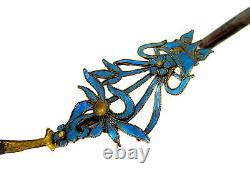 Kingfisher Feather Silver Gilt Spoon Pendentif Chinois 19ème Siècle Qing