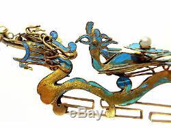 Kingfisher Plume Argent Cuillere De Dragon Dragon Phoenix 19ème Siecle Chinois
