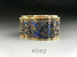 La Dynastie Qing Chinois Argent Gilding Blueing Box Incrusté Jade Dans La Dynastie Han