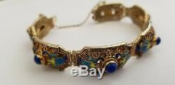Lapis Bleu Antique Scarab Doré Bracelet En Émail Filigrane Sterling Export Chinois