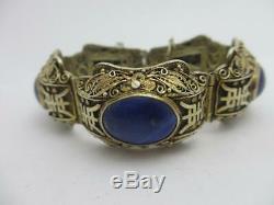 Lapis Lazuli Bracelet Chinois En Argent Massif Et Plaqué Doré, Époque C1920. Tbj08031