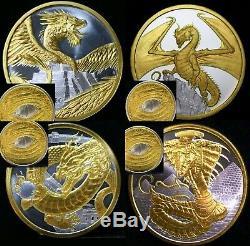 Le Monde Des Dragons Égyptien Aztèque Gallois Chinois Argent 1 Once D'or 24k 1 Once
