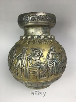 Livraison Gratuite Rare Chinois En Bronze Doré Et Vase Design Personnage En Argent