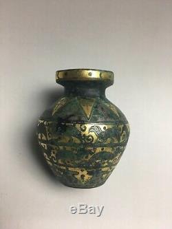 Livraison Gratuite Rare Pot Chinois En Bronze Doré Et Argent