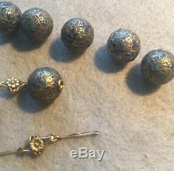 Lot De Antique Chinois Pur Argent Perles Émail Art Nouveau Or 18k Résultats