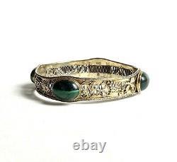Lovely Antique Chinese Export Argent Gilt Art Nouveau Malachite Bracelet, C 1900