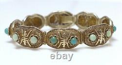 Lovely Vintage Chinois Export Silver Gold Vermeil Filigree Bracelet Green Stones