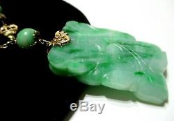 Magnifique Antiquité Chinoise En Jadéite Jade Collier De Pendentif Gravé Lotus Tendre