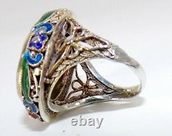 Magnifique Chinois Cinnabar Émail Gilt Sterling Silver Gold Wash Ring Réparations