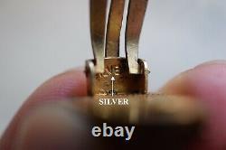Main Chinoise Exportation Filigrané Doré Boucles D'oreilles En Argent Sterling Turquoise Annees 50