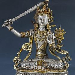 Main De Doré En Cuivre Argenté Chinois Sculptée Statue De Bodhisattva Manjusri