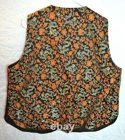 Mens Suit Vest 46 Chinois Vintage Soie Brown Or Argent Brocade Orient Dragon