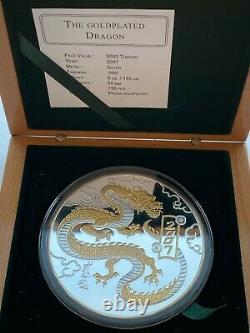 Mongolie, Année Lunaire Chinoise Du Dragon 5 Oz Argent Pièce Dorée 2007 Année