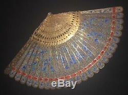 Musée De La Grande Qualité Antique D'or Chinois En Argent Doré Filigrane Émail Fan Brise