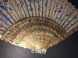 Musée Rare Typologie Antique Chinois Doré En Argent Doré En Filigrane D'émail Brise Eventail