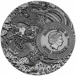 Niue Guan Yu Chinese Heroes Argent Coin 5 $ Finition Antique 2019 Plaqué Or 2 Oz