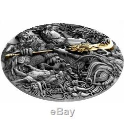 Niue High Relief 2 5 $ Guan Yu Chinois Heroes Pièce D'argent Plaqué Or 2019 Oz