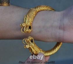 Old Chinese Dynasty Palace Tibétain Argent 24k Or Dragon Bracelet Royal