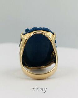 Old Chinese Export 14k Or Jaune Sculpté Lapis Lazuli Floral Melon Fruit Ring