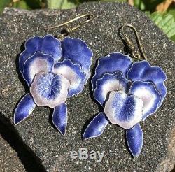 Old Chinese Export Gilt Or Argent Violet Émail Fleur Dangle Boucles D'oreilles 2 1/4