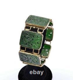 Old Chinese Gilt Silver Jade Jadeite Sculptée Fleur Plaque Bracelet Box