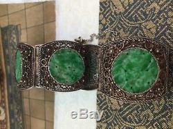 Old Chinese Or Argent Doré Bracelet Filigrane Sculpté Jade Bangle 7