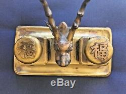 Old Tuck Chang, Exportation Chinoise, Argent Massif Doré, Encre De Puits, Encrier, Dragon