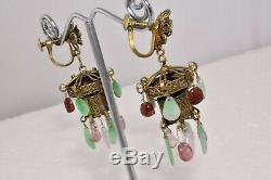 Or Antique Gilt Chinois Argent Jade Rose Tourmaline Lanterne Boucles D'oreilles Floral