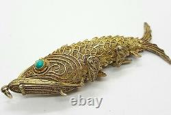 Or Argent Vintage Sterling Chinois Plaqué Filigrane Turquoise Koi Fish Pendentif