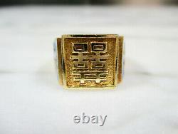 Or Chinois Antique Lavé Sterling Argent Double Bonheur Émaillé Anneau Sz 7