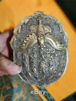 Or Chinois Et Argent Boîte En Bronze Doré Main Carve Boîte Dynastie Motif Phénix