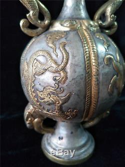 Or Chinois Et Pot D'argent Dragon Bronze Doré Et Veines Phénix Deux Pots De Poignée De Dragon