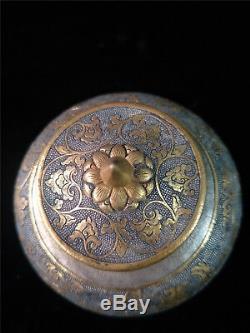 Or Chinois Et Pot D'argent Main En Bronze Doré Sculpté De Fleurs Et Pot Cerf Couvert Veine