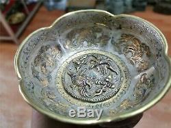 Or Et Argent Chinois Bols Main En Bronze Doré Tasses Carve Bols Motif Bête