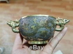 Or Et Argent Chinois Bols Tasses Main En Bronze Doré Carve Double Vasques Motif De Dragon
