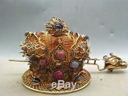 Ornement De Cheveux Incrusté De Gemme D'argent Chinois Doré À L'ancienne Ornement De Motif De Dragon Royal Antique