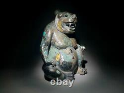 Ours De Bronze Chinois Rare Incrusté D'or Et D'argent Han Dynastie 206b.c. 220a. D