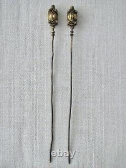 Paire D'anciennes Épingles À Cheveux De Chine Période Ching Argent Peranakan / Hairspikes