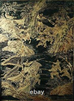 Paire Superbe Chinois Qing Dynasty Gilt Et Silvered Spinach Jade Table Screens