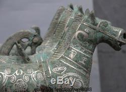 Palais De La Dynastie Chinoise Statue Sculpture En Calèche À Cheval En Bronze Argenté Doré