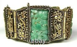Panel Jade Chinese Link Export Vert Dore Filigree Bracelet Marqué Chine Argent