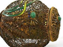 Panier À Panier En Émaux En Argent Sterling Doré Avec Cendrier Humidor Crabe Chrysoprase