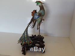 Paon Vintage En Porcelaine Émaillée, Exportation De Chine, Exportation Et Support