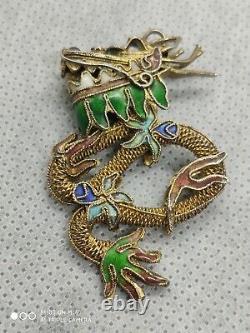 Pendentif Antique Chinois De Dragon D'émail Orné De Filigrane De Métal Doré, 45mm De Haut