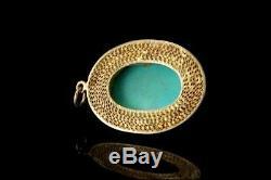 Pendentif Cabochon Turquoise Vintage Chinois Bleu En Argent Doré D116-08