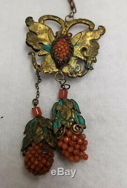 Pendentif De Collier De Perles Coralienne Antique En Argent Doré Avec Plume De Martin-pêcheur Chinois