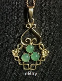 Pendentif De Jade Jadéite Antique En Argent Doré, Chine