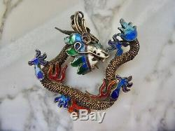 Pendentif En Argent Antique En Argent Filigrané Doré Chigue 800 Doré Enamel Dragon